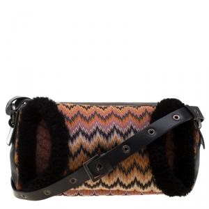Missoni Multicolor Wave Canvas and Leather Shoulder Bag