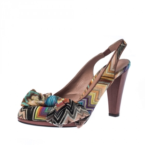 Missoni Multicolor Knit Fabric Bow Slingback Sandals Size 36.5 - used