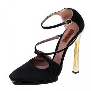 Missoni Black Satin Ankle Strap Sandals Size 40 - used
