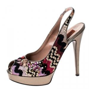 Missoni Multicolor Fabric Embellished Slingabck Peep Toe Platfrom Sandals Size 40 - used