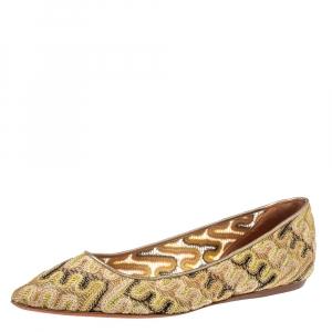 حذاء فلات باليه ميزونى قماش متعدد الألوان ميتالك مقاس 39