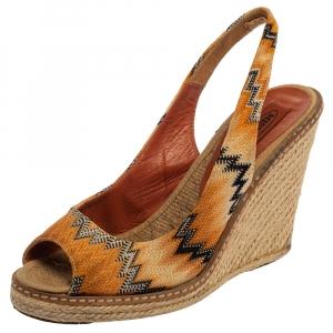 Missoni Orange/Black Knit Fabric Espadrille Wedge Slingback Sandals Size 39 - used