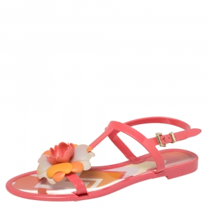 Missoni Pink Rubber Rose Ankle Strap Flat Sandals Size 36