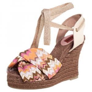 Missoni Multicolor Knit Fabric And Canvas Knotted Espadrille Wedge Ankle Wrap Sandals Size 38 - used