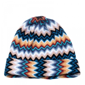 Missoni Multicolor Wool Blend Zig Zag Knit Beanie