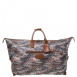Missoni for Bricks Multicolor Zigzag Printed PVC and Leather Weekender Duffel Bag