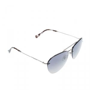 Miu Miu Silver/Blue Grey Gradient Silver Mirrored SMU54U Aviator Sunglasses
