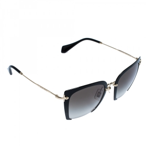 Miu Miu Black and Gold/ Brown Gradient SMU52R Rasoir Square Sunglasses