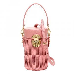 Miu Miu Pink Leather Wicker Cylinder Mini Shoulder Bag