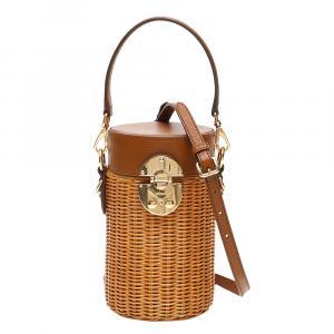 Miu Miu Brown Wicker Cylinder Mini Shoulder Bag