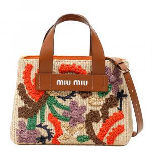 Miu Miu Red Embroidered Raffia Tote Bag