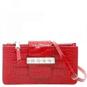 Miu Miu Red Leather Crystal Mini Shoulder Bag