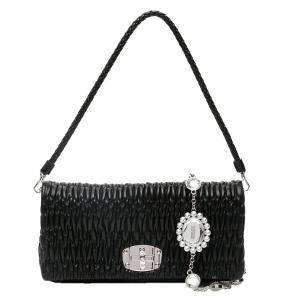 Miu Miu Black Leather Crystal Shoulder Bag