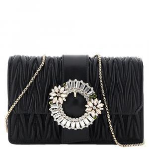 Miu Miu Black Leather My Miu Clutch Bag