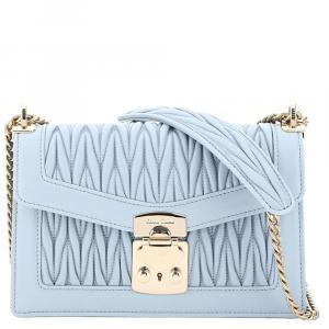 Miu Miu Light Blue Leather Medium Miu Confidential Shoulder Bag