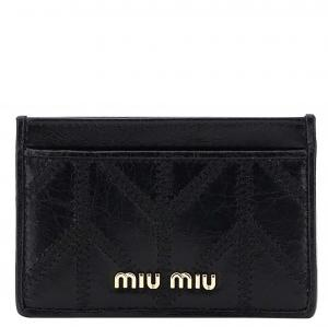 Miu Miu Black Leather embroidered pattern cardholder