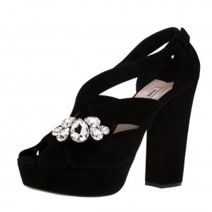 Miu Miu Black Velvet Crystal Embellished Platform Sandals Size 40.5 -