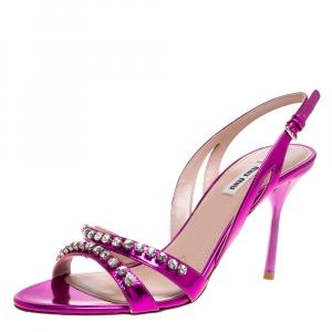 Miu Miu Purple Leather Crystal Embellished Slingback Sandals Size 40 -