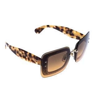MIu Miu Tortoise Shell Glittered/Brown Grey Gradient SMU01R Square Sunglasses