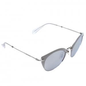 Miu Miu Matte Grey/ Silver Mirrored SMU53R Cat Eye Sunglasses