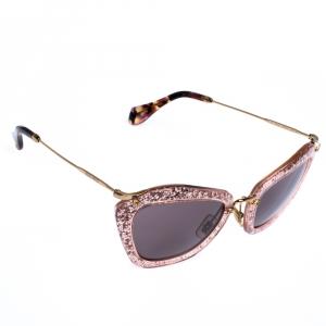 Miu Miu Gold/Pink SMU 10N Glitter Effect Cateye Sunglasses