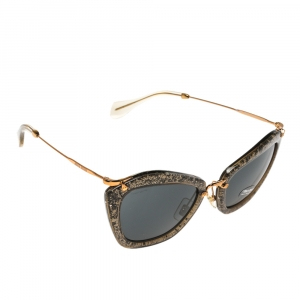 Miu Miu Gold Shimmer Inlay/ Grey Smu 10N Cat Eye Sunglasses