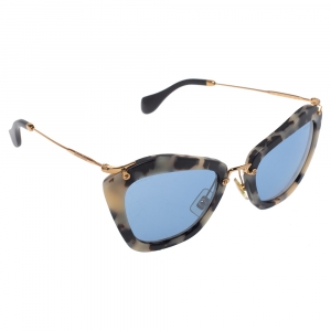 Miu Miu Sand Havana/ Blue Mirrored SMU 10N Cat Eye Sunglasses