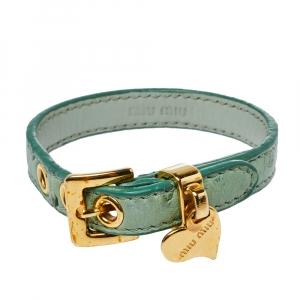 Miu Miu Green Ostrich Leather Heart Charm Bracelet