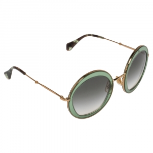 Miu Miu Gold/Green Gradient SMU 50Q Round Oversized Sunglasses