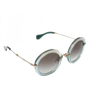 Miu Miu Blue/Gold Acetate Delice SMU 13N Round Sunglasses