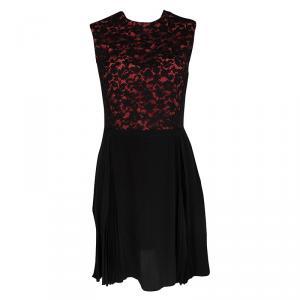 Miu Miu Black and Orange Floral Lace Pleat Detail Dress S - used