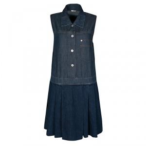 Miu Miu Indigo Dark Wash Colorblock Denim Sleeveless Pleated Dress M - used