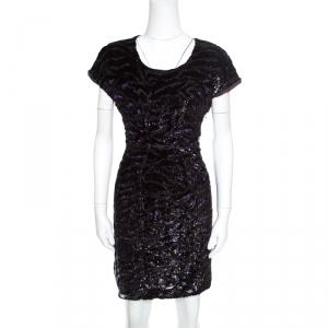 Miu Miu Dark Purple Metallic Animal Pattern Velvet Burnout Sheath Dress L - used