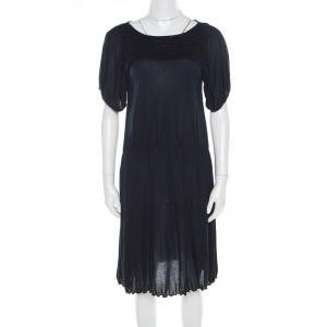 Miu Miu Navy Blue Cotton Jersey Gathered Dress S - used