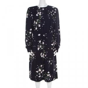 Miu Miu Navy Blue Floral Printed Ruched Waist Detail Long Sleeve Dress M - used