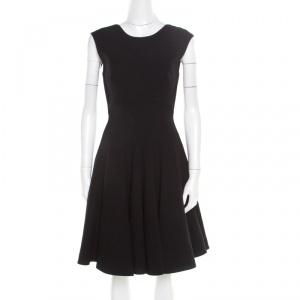 Miu Miu Black Wool Cutout Back Bow Detail Flared Dress S - used