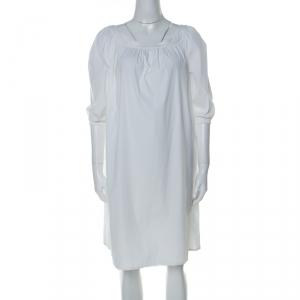 Miu Miu White Stretch Cotton Wide Neck Shift Dress M - used