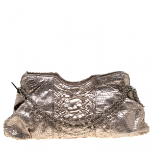 Zagliani Metallic Rose Gold Python Chain Shoulder Bag