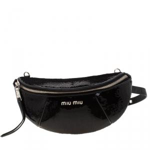 Miu Miu Black Sequins Leather Belt-Bag