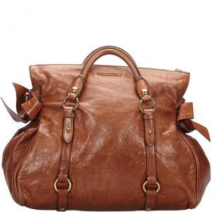 Miu Miu Brown Vitello Lux Leather Bow Bag