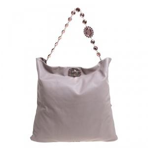 Miu Miu Pink Leather Oversize Crystal Clutch