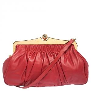 Miu Miu Red Matelasse Leather Frame Clutch