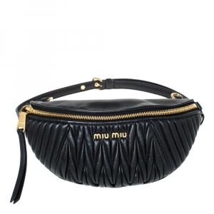 Miu Miu Metallic Black Matelasse Leather Belt Bag