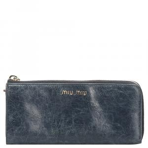 Miu Miu Blue Vitello Shine Wallet