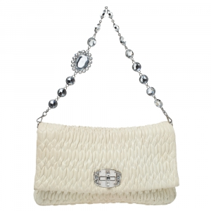Miu Miu White Matelasse Nappa Leather Crystal Shoulder Bag