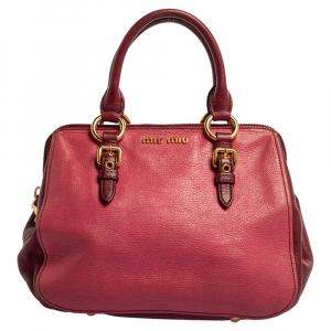 Miu Miu Pink/Burgundy Madras Leather Satchel