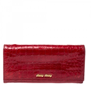 Miu Miu Red Crocodile Effect Patent Leather Flap Continental Wallet