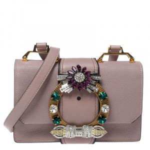 Miu Miu Dusty Pink Madras Leather Crystal Embellished Buckle Flap Shoulder Bag