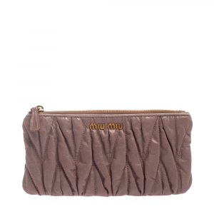 Miu Miu Pink Matelasse Leather Continental Zip Wallet