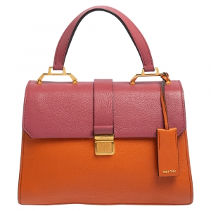 Miu Miu Orange/Pink Madras Leather Pushlock Top Handle Bag